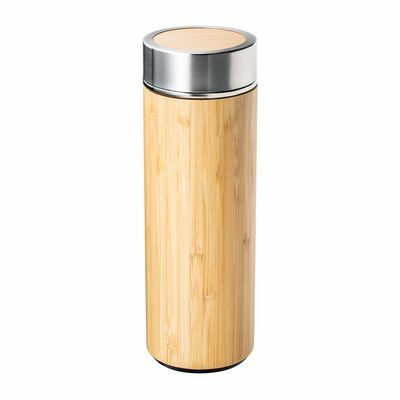 Insulated flask with stainless steel and bamboo with tea strainer RETUMBLER-ADAMUZ